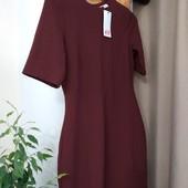 Платье миди бордовое с красивой спиной H&M