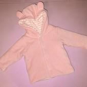 Мягкая кофточка с капюшоном для девочки 1-3 месяцев рост 54