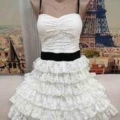 Шикарное Платье с белого кружева, размер S