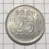 Монета Нидерландов 25 центов 1951