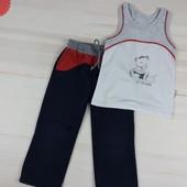 Утепленные спортивные штаны с начесом и майка на 2-3 года. Хлопок.