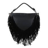 Большая женская сумка-торба с бахромой полукруглая (европа) черный