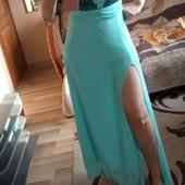 Розпродажа !Вечірнє плаття в пол мятного кольору із гіпюром , стан нового, 10% знижка на УП