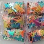 600шт Блестящие пришивные Бабочки ассорти