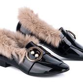 Утепленные туфли черного цвета, размер 39-24,5 последние!