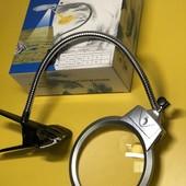 Увеличительная лупа, лампа с подсветкой, гибким держателем зажимом для чтения, рукоделия, косметолог