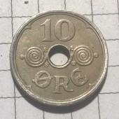 Монета Дании 10 эре 1924