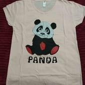 Жіноча футболка с пандою.Розмір 44 і 46.