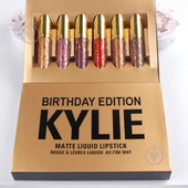 Набор матовых жидких помад kylie birthday, 6 шт в наборе