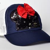 Качественная Бейсболка Минни примерно 4-7 лет ог 52-54 см в лоте синяя, фото 1!