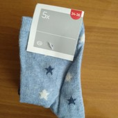 Комплект, носки (5 пар) для девочки C&A (Германия), размер 34/36