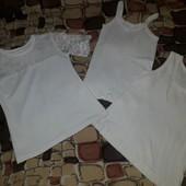 р.134-140 Футболка- блуза школьная и две маечки
