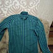 Стильная молодежная рубашка с длинным рукавом в клетку, смотрите замеры