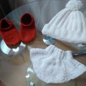 Шапка шарфик и носочки для малыша,малышки