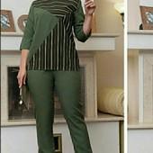 Классный креповый костюм блузка-туника и брюки на резинке.Пог68, Поб68
