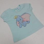 Disney. Мятная футболка с Dumbo. 3-6 месяцев. 62 размер.