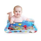 Детский развивающий водный коврик аквариум, надувной коврик для малышей с рыбками, водяной