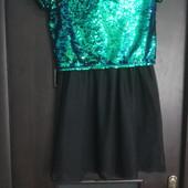 Шикарное платье с паетками-перевертышами и фатиновой юбкой на подростка. См.замеры! Бесп-ная укр-та!