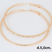 красивые большие узорные круглые серьги-кольца-конго Ø-5 см, позолота 585 пробы