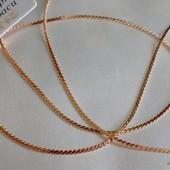 красивая и нежная тонкая цепочка, оригинальное плетение серпантин, 45 см, позолота 585 пробы