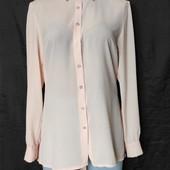 Пудровая фактурная блузочка с удлиненной спинкой и поясом,l/xl