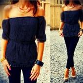 шикарная гипюровая блуза с открытыми плечами!!!