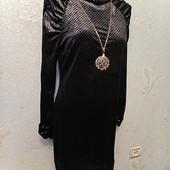 Шикарное нарядное мягенькое стрейчевое бархатное велюровое платье р.14 Новое Акция читайте