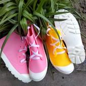 Классные резиновые сапожки кеды - розовые и жёлтые. Стильные и удобные! 36, 37, 38рр.