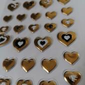 Наклейки выпуклые золотые сердечки. 52 стикера