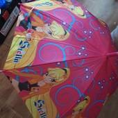 Яркий детский зонтик-полуавтомат.удобный,отлично защитит от дождя, со свистком, купол 72см.супер❣
