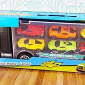 Фура | атовоз | трейлер Hot Wheels | грузовик с машинками 6 шт, игровой набор, Хот Вилс