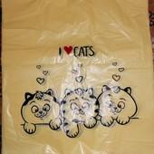 """50шт. Пакеты полиэтиленовые """"Коты"""" 29х48см. до 16кг."""