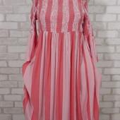 Платье полоска открытые плечи 46-48 см