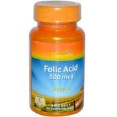 Фолиевая кислота c Витамином B12, Thompson, 800 мкг, 30 таблеток, Америка