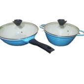 Набор посуды: сковородка WOK (3,5 л) +кастрюля 3,4 л. Антипригарное покрытие, подходит для всех плит