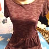 Платье из тонкого трикотажа цвета бордо на XXS