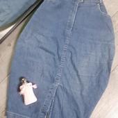 Джинсовая юбка стрейч миди разрез спереди и сзади