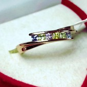 Красивое!Колечко-дорожка(20р) с цветными цирконами ,позолота ,мед