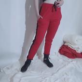 Штани спортивні жіночі з двонитки з лампасами коралові з джинсовими вставками з шнуром 50