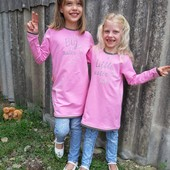 Туніка дівчинці для сестричок Big sister та little sister рожевого кольору
