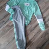 Дитячий спортивний костюм двокольоровий м'ятний 134