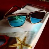 Стильные солнцезащитные очки, UV400, голубые зеркальные читайте