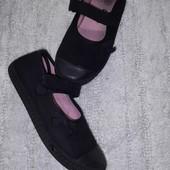 Чёрные тапочки для девочки стелька 19,5 см