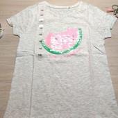 Польша! Лёгкая коттоновая футболка для девочки! 140 рост! 329 грн по ценнику!