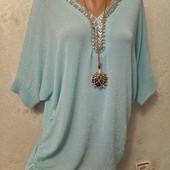 Роскошная нарядная нежнейшая блуза туника с люрексом и камнями р.16 Акция читайте