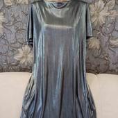 Нарядное, лёгкое серебряное платье, p. L-XL