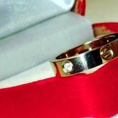 Зеркальное!р.15,Колечко Stainlees Steel с белым цирконом,позолота ,мед