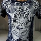 Футболка мужская 3D рисуок двухсторонний тигр-Турция. Качество!