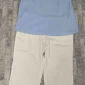 Комплект: льняные укороченные брюки+блуза! р 18-20(54-56)!!