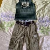 Костюмчик на мальчика 5-7 лет шорты майка (пояс в подарок!